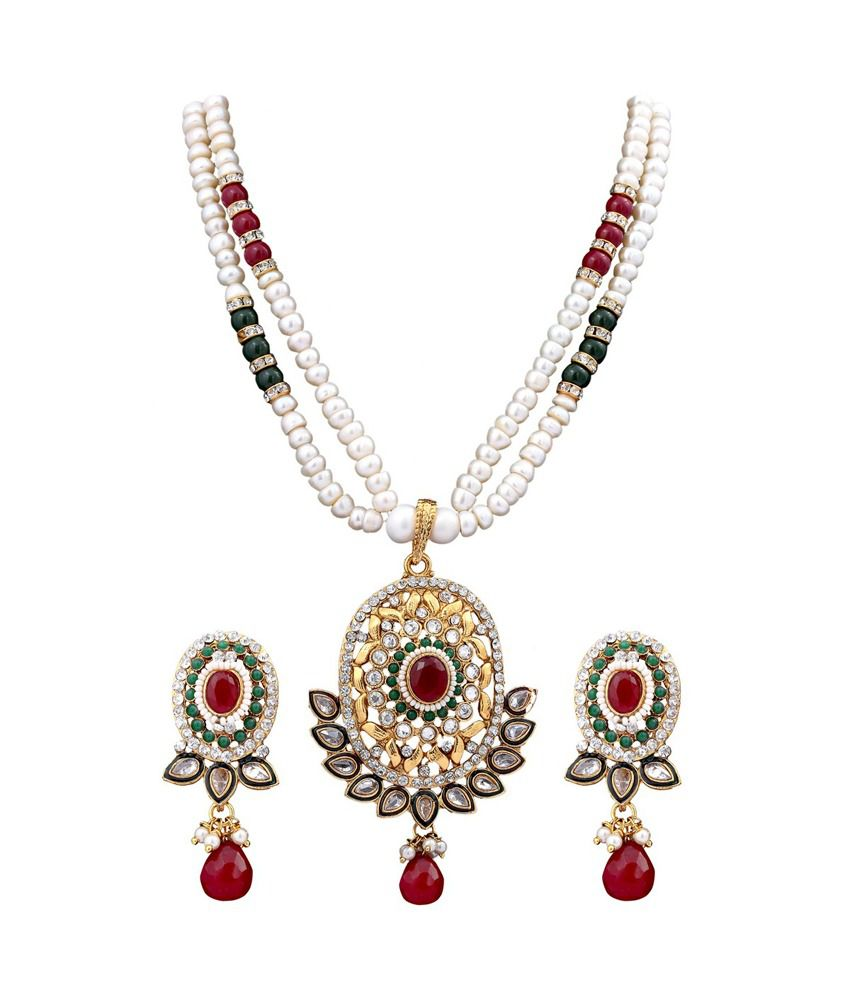 Dd Pearls Semi Precious Aesthetic White Pearls & Red Cz Pendant Earrings Set For Women