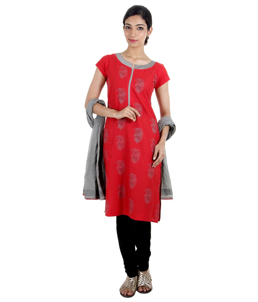 Estyle Red Cotton Printed Salwar Suit With Dupatta
