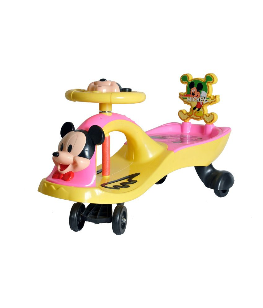 happy kids magic swing car with music mickey mouse yellow and pink buy happy kids magic. Black Bedroom Furniture Sets. Home Design Ideas