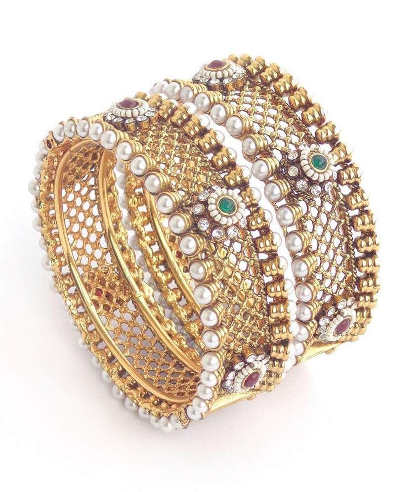 Nishiratna Antique Design Gold Plated ( 1 Gm ) Kangan: Buy ...