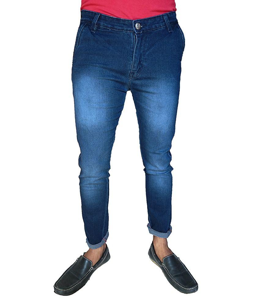 Oiin Blue Cotton Slim-fit Cross Pocket Jeans