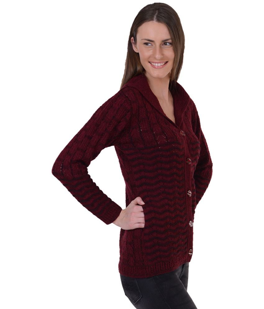 Sportking Maroon Cardigan Sweater For Women Sportking Maroon Cardigan  Sweater For Women ... 40e2a8301
