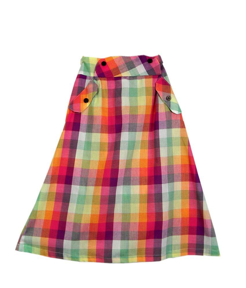 Ssmitn Pink Check Long Skirt