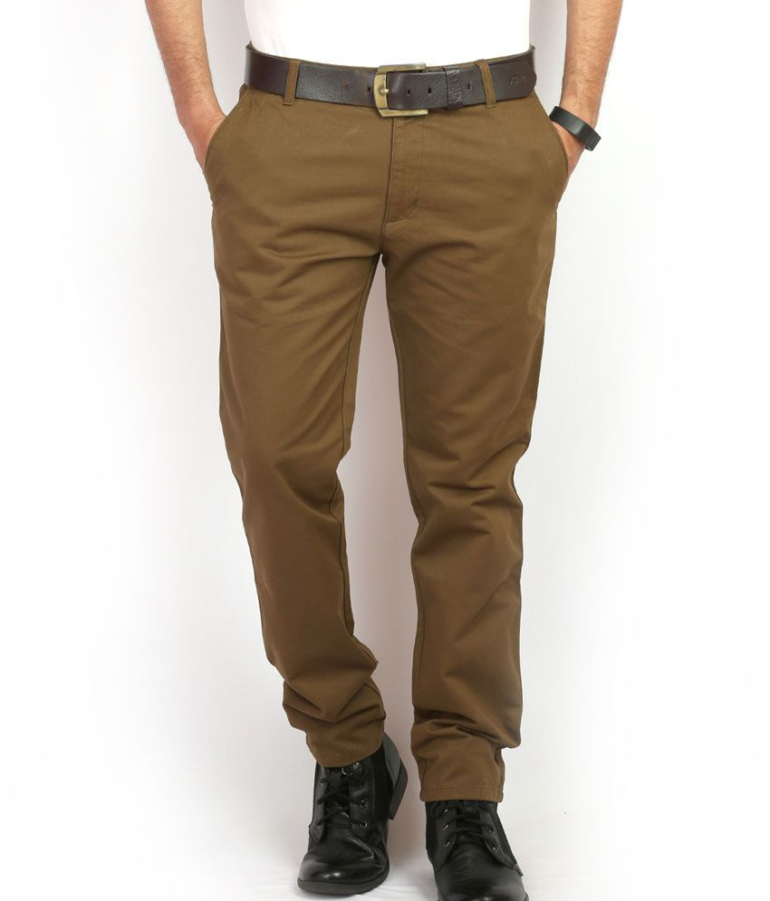 Stagger Polo Khaki Cotton Slim Fit Casuals Chinos