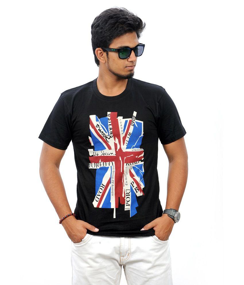 Stylefox-ok Uk Flag Show Black Graphic T-shirt