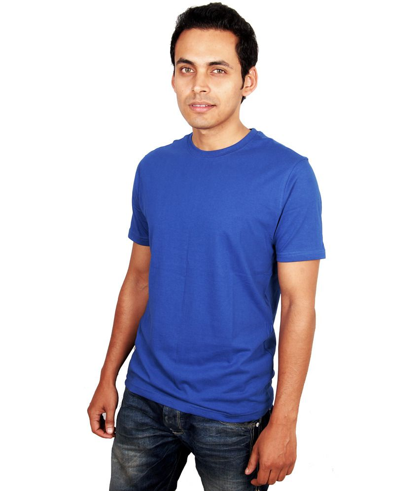 UberPlush Blue Cotton Printed T Shirt