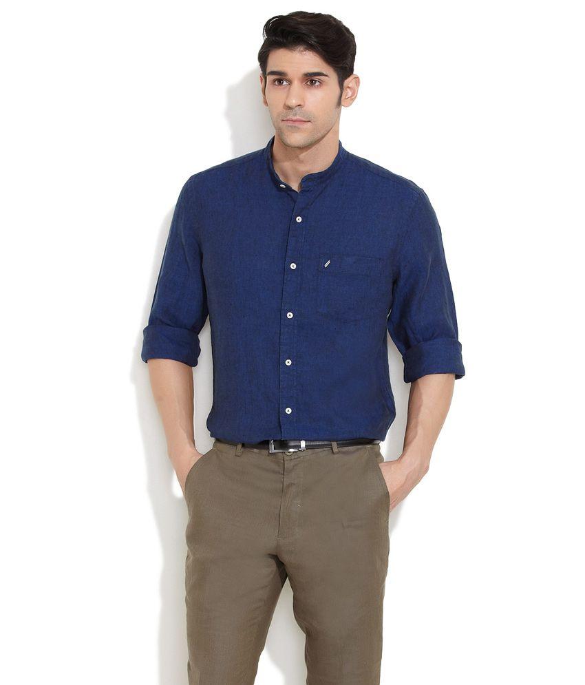 e1bb6a7dea1b Daniel Hechter Dark Blue Mandarin Collar Linen Shirt - Buy Daniel Hechter Dark  Blue Mandarin Collar Linen Shirt Online at Best Prices in India on Snapdeal