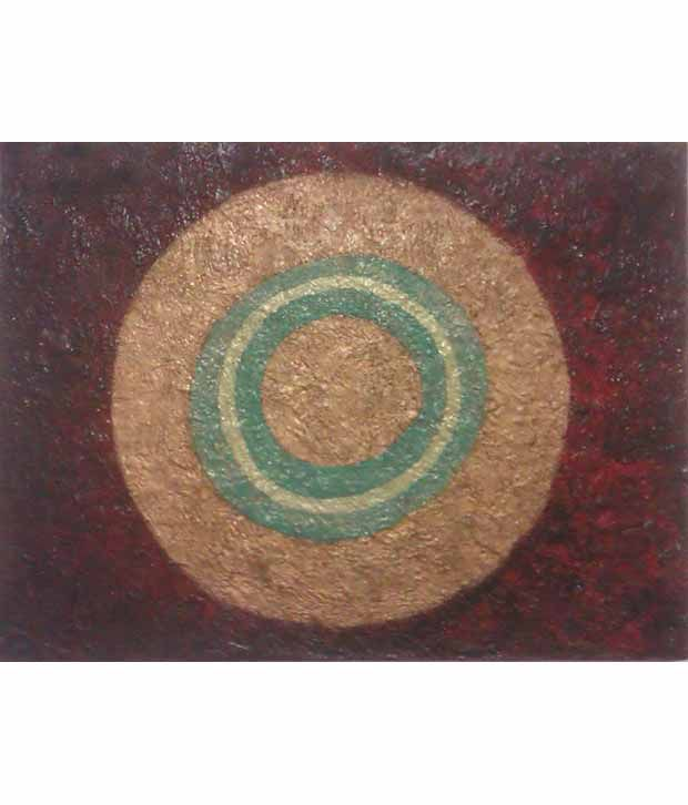 Eximserv Red-brown And Golden Textured Wall Painting