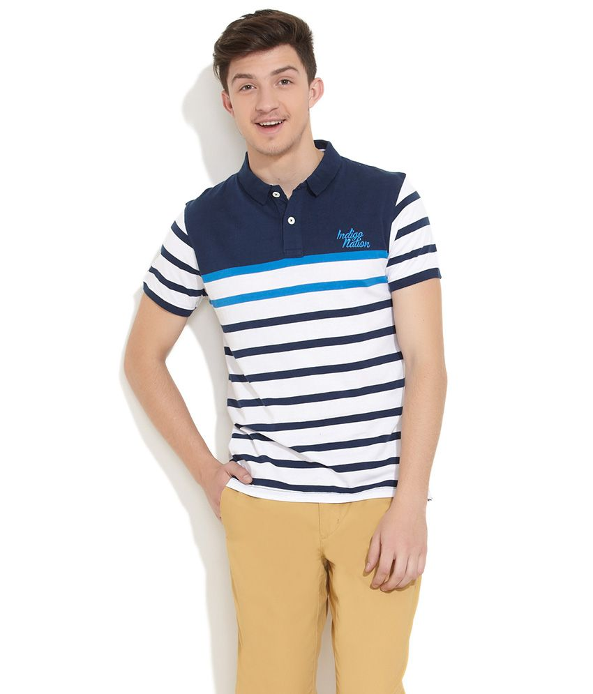 Indigo Nation Dark Blue Mr Preppy Striped Polo T Shirt Buy Indigo