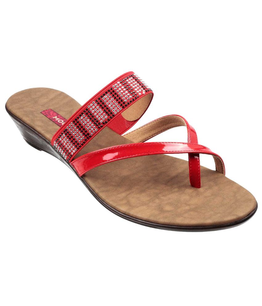 Mochi Red Wedges Heeled Slip-on