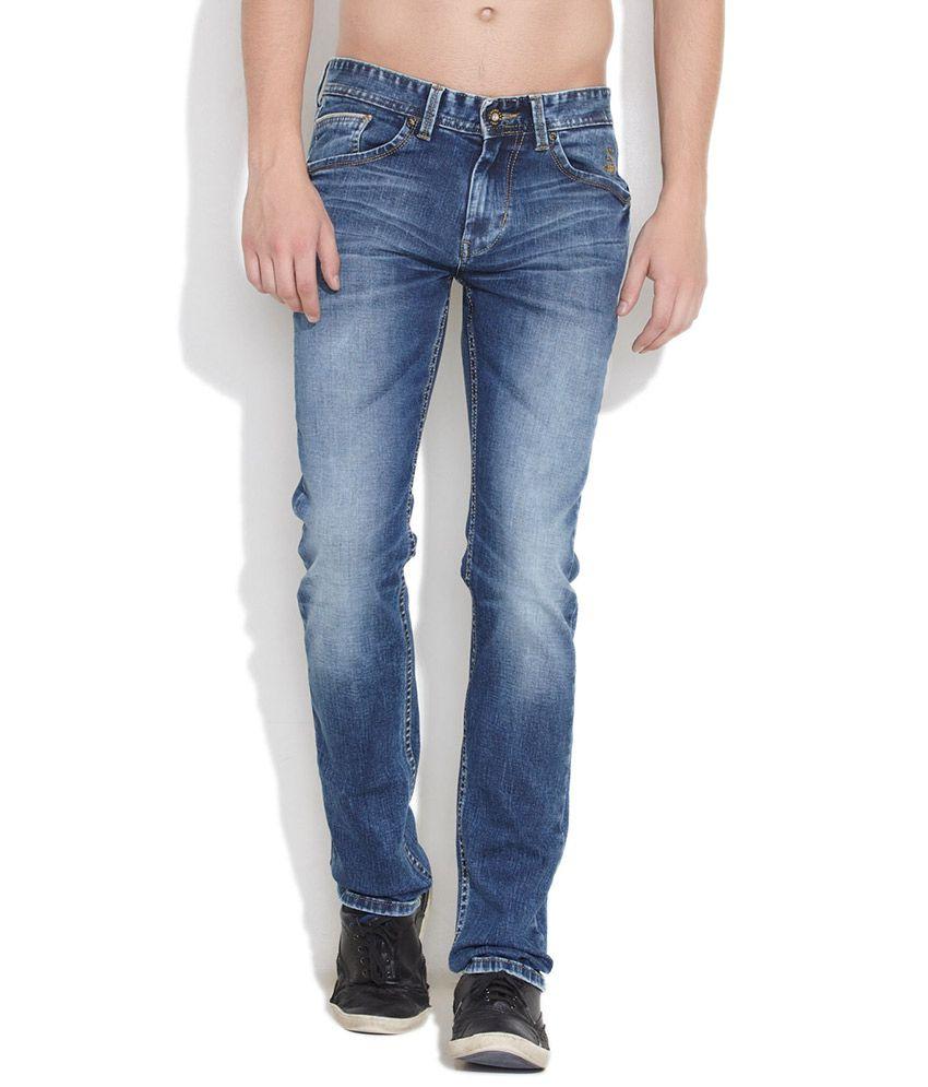 Numero Uno Medium Blue Numero Uno Mid Rise Slim Fit Jeans