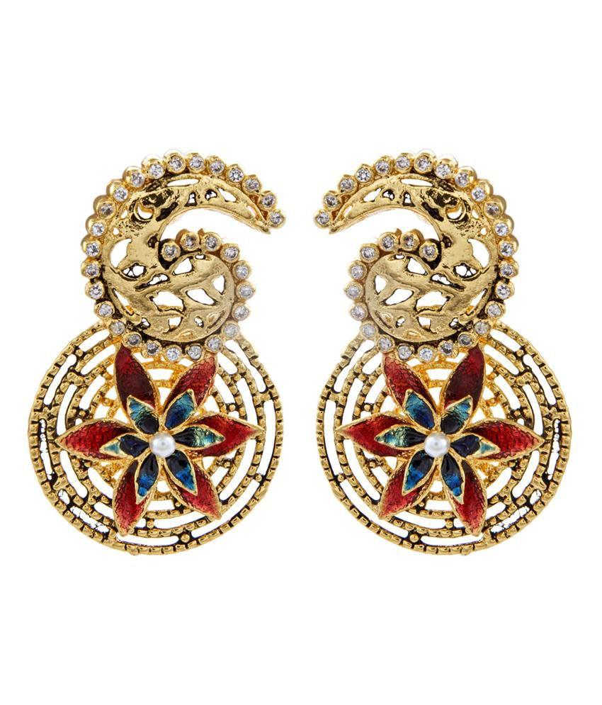 The Jewelbox Gold Plated 3d Flower Meenakari Cz Filigree Paisley Round Earring