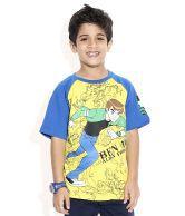 Ben 10 Half Sleeves Yellow & Royal Color Printed T-Shirt For Kids