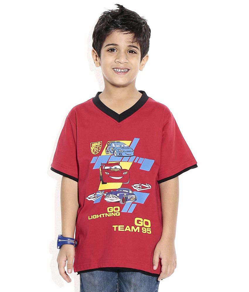 Disney Cars Half Sleeves Red & Black Color Printed T-Shirt ...
