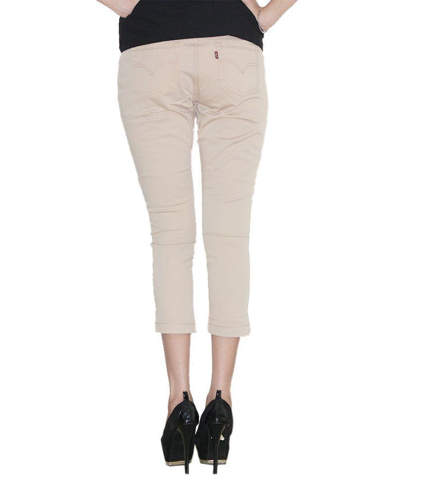 luxury fashion release info on super cute Buy Levis Light Brown Slim Fit Three Fourth Denim Lycra ...
