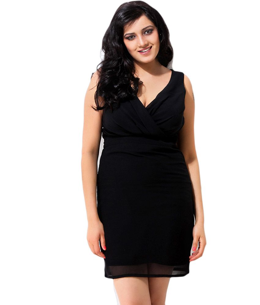 Jiiah Black Georgette A Line Dress