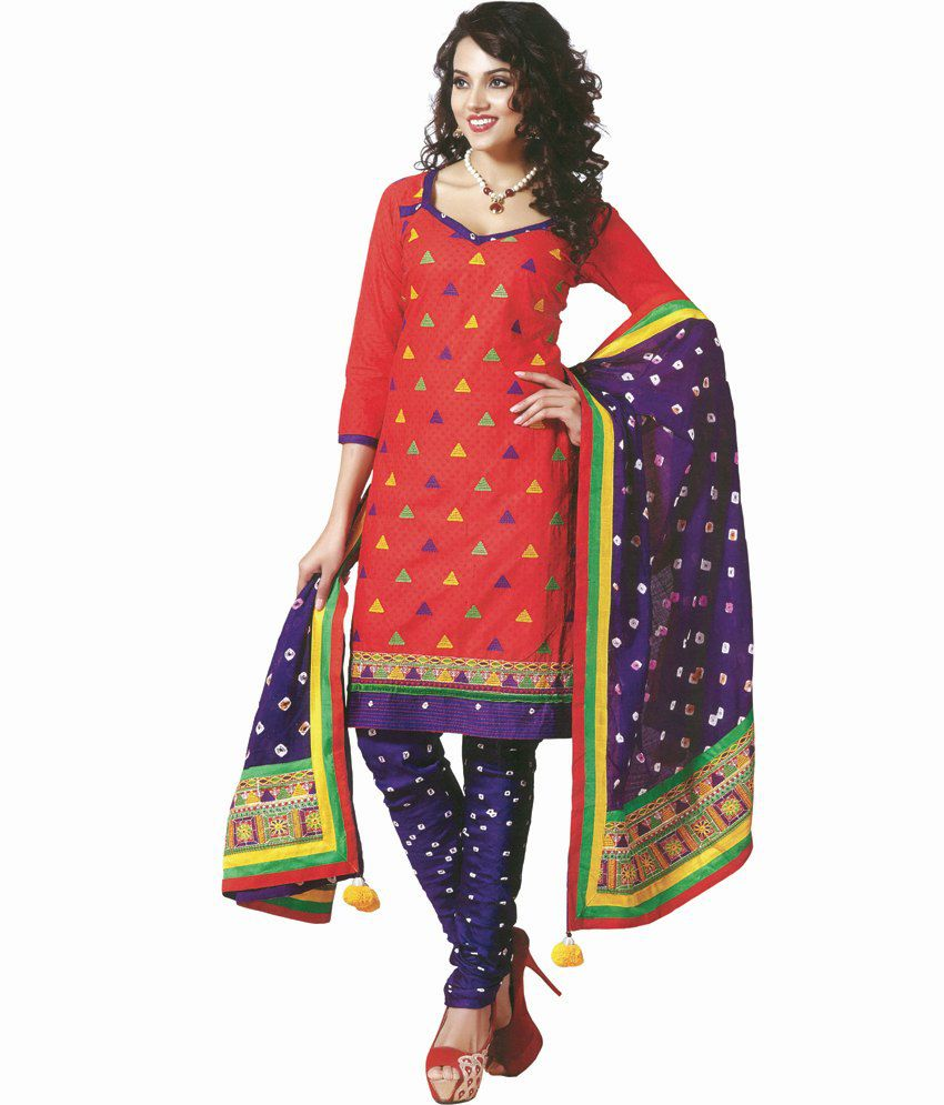 Baarish red multi coloured kutch embroidery dress material