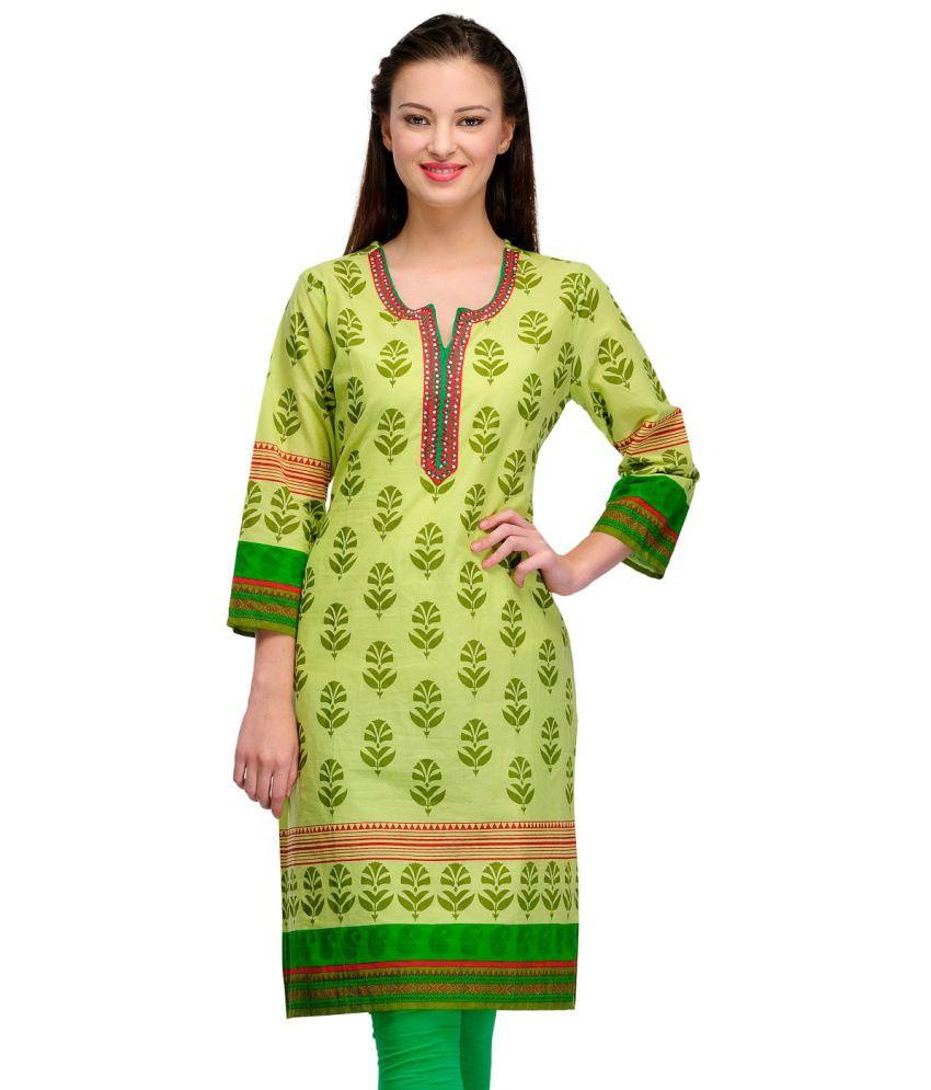 Cenizas Green Cotton 3/4th Sleeves Woven Printed Round Neck Kurti