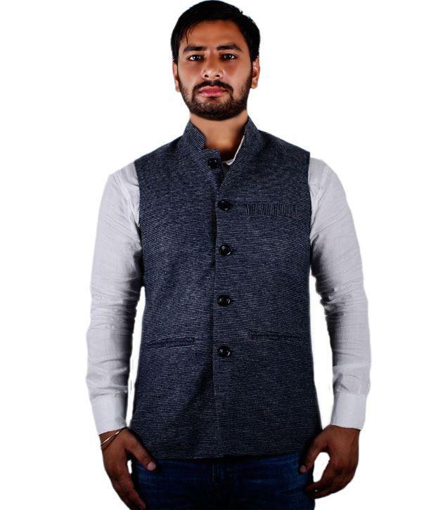 Go Gossip Multicolour Woollen Sleeveless Nehru Jacket