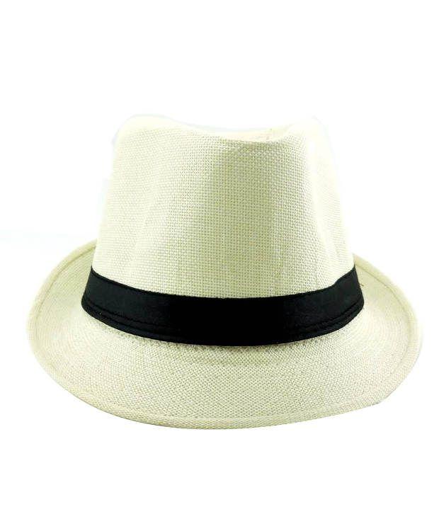 Jstarmart White Polyester Fidora Hat Men
