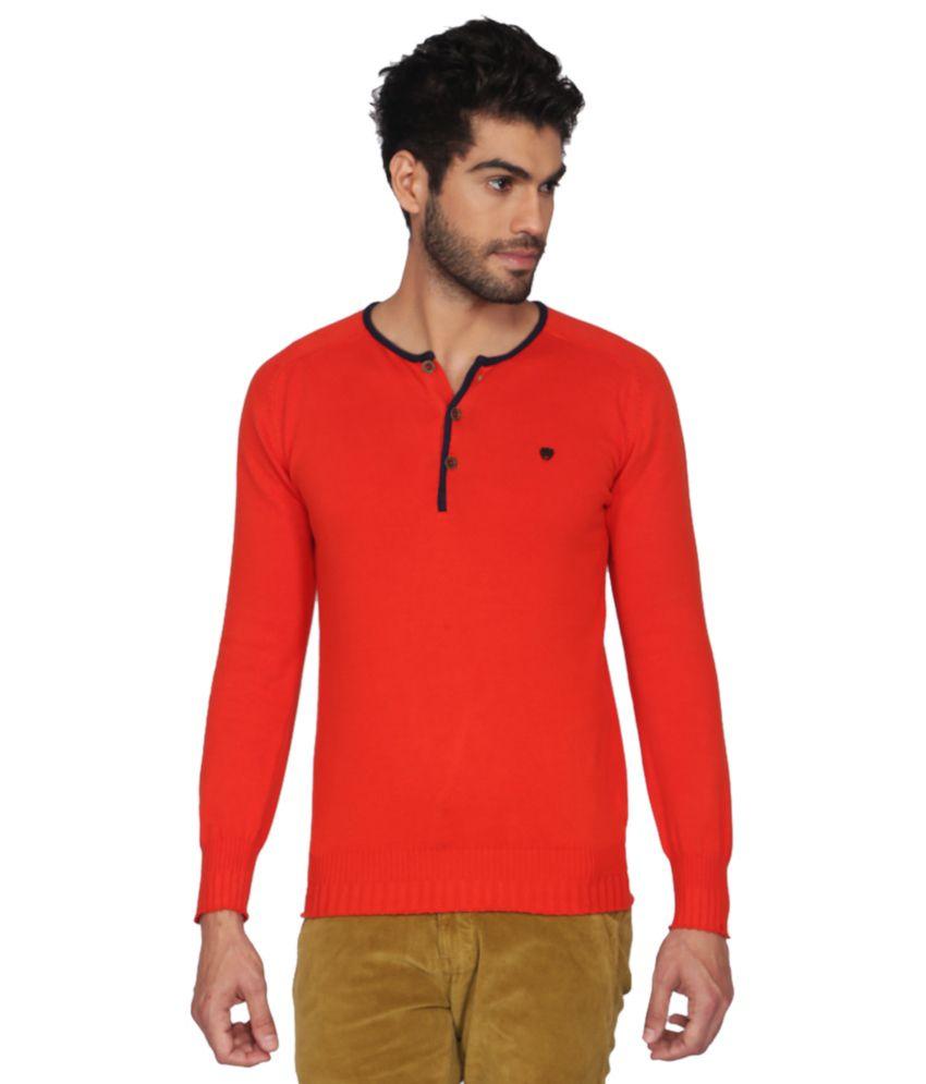 Status Quo Men Orange Casual T Shirts