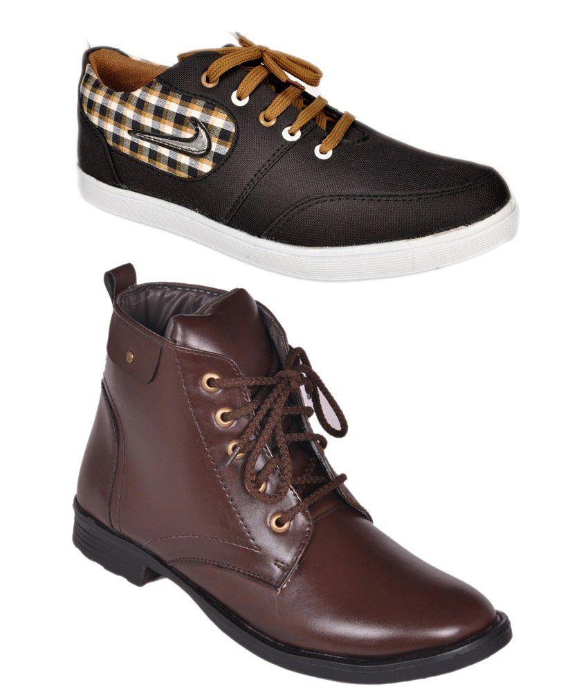 Kool Jones Synthetic Leather Designer Men's Boots - Combo Of 2