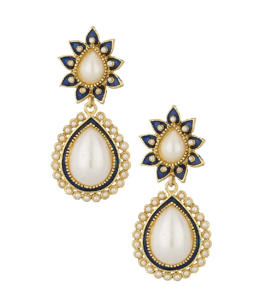 Voylla Dangler Earrings With Traditional Floral Design