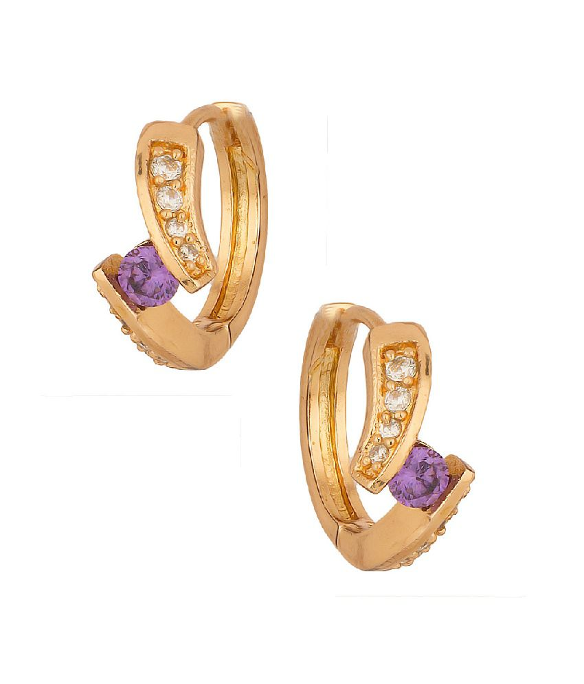 Voylla Sparkling Hoop Earrings With Cz And Purple Color Stone