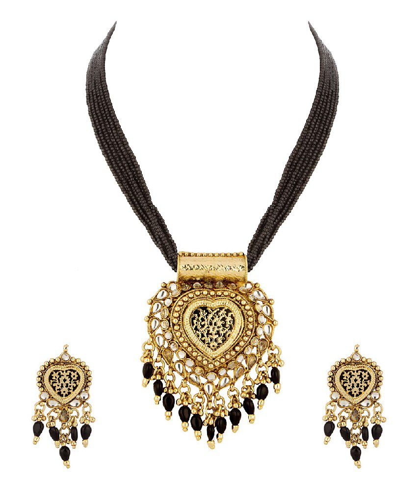 Voylla Thewa Necklace Set With Black Enamel Work