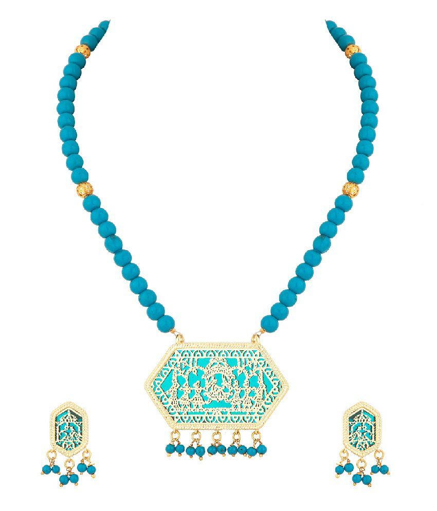 Voylla Traditional Thewa Necklace Set With Gold And Blue Colored Beads