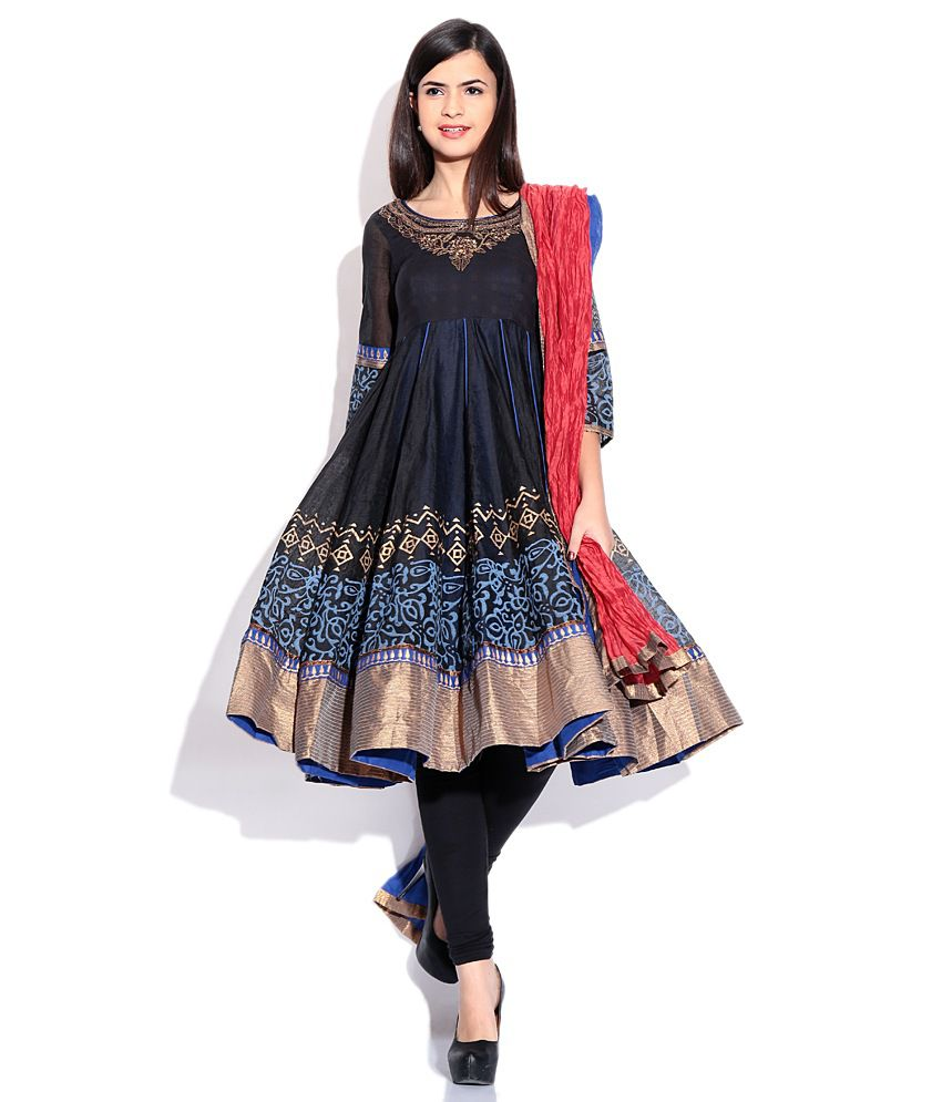 Biba Black Plain Cotton & Silk Stitched Salwar Suit - Buy Biba ...