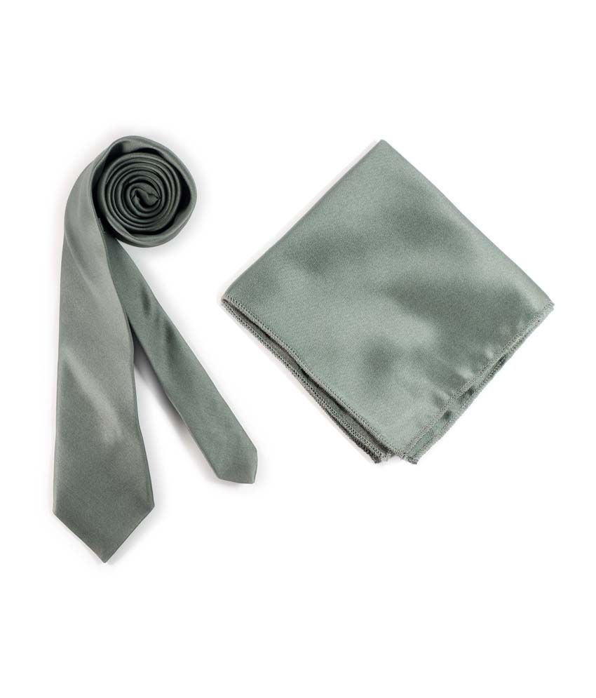 Classique Solid Neutral Grey Premium Microfiber Slim Tie With Matching Pocket Square