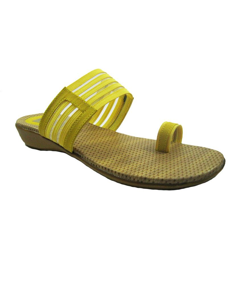 Dawood Shoes Yellow Comfort Faux Leather Flats
