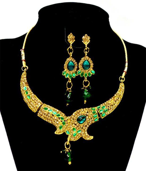 Indian Saree Mandir Multi Color Style Diva Traditional Designer Eeo-friendly Metal Necklace Set  available at snapdeal for Rs.349
