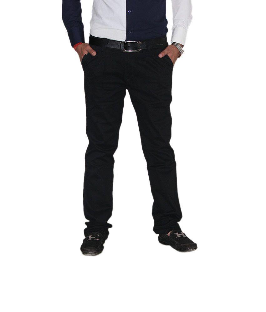 Kendrews Black Cotton Lycra Slim Fit Semi Formal Chino