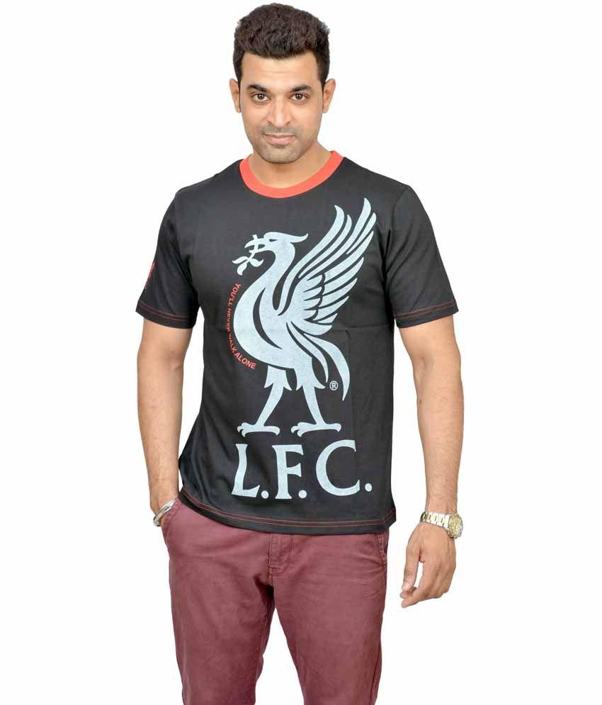 Liverpool Football Club Black Cotton Round Neck Football T-shirt