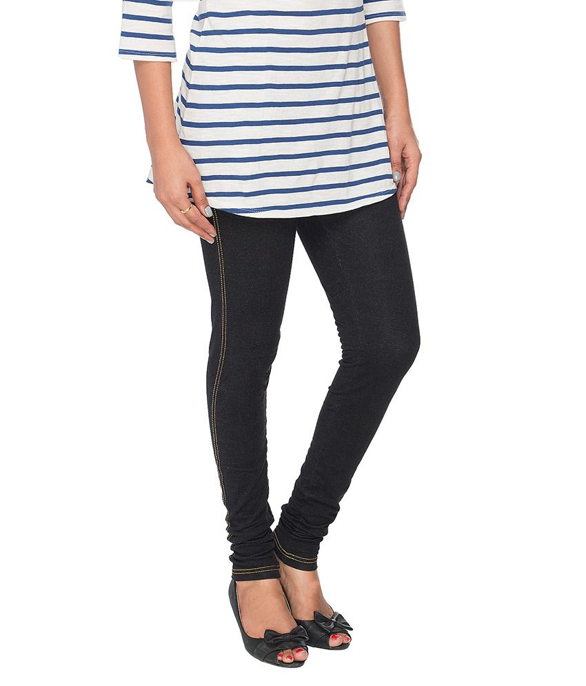 7edd84a2b8c Buy Prisma Black Cotton Jeggings Online at Best Prices in India ...