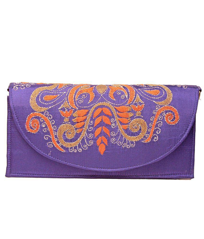 Slice Of Bengal Purple Silk Made Clutch