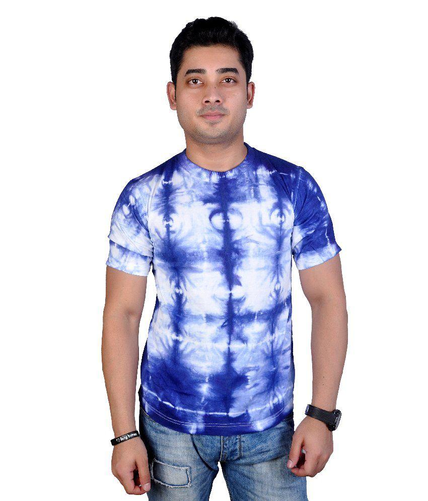 Mc Blue Cotton Printed Half T-shirt