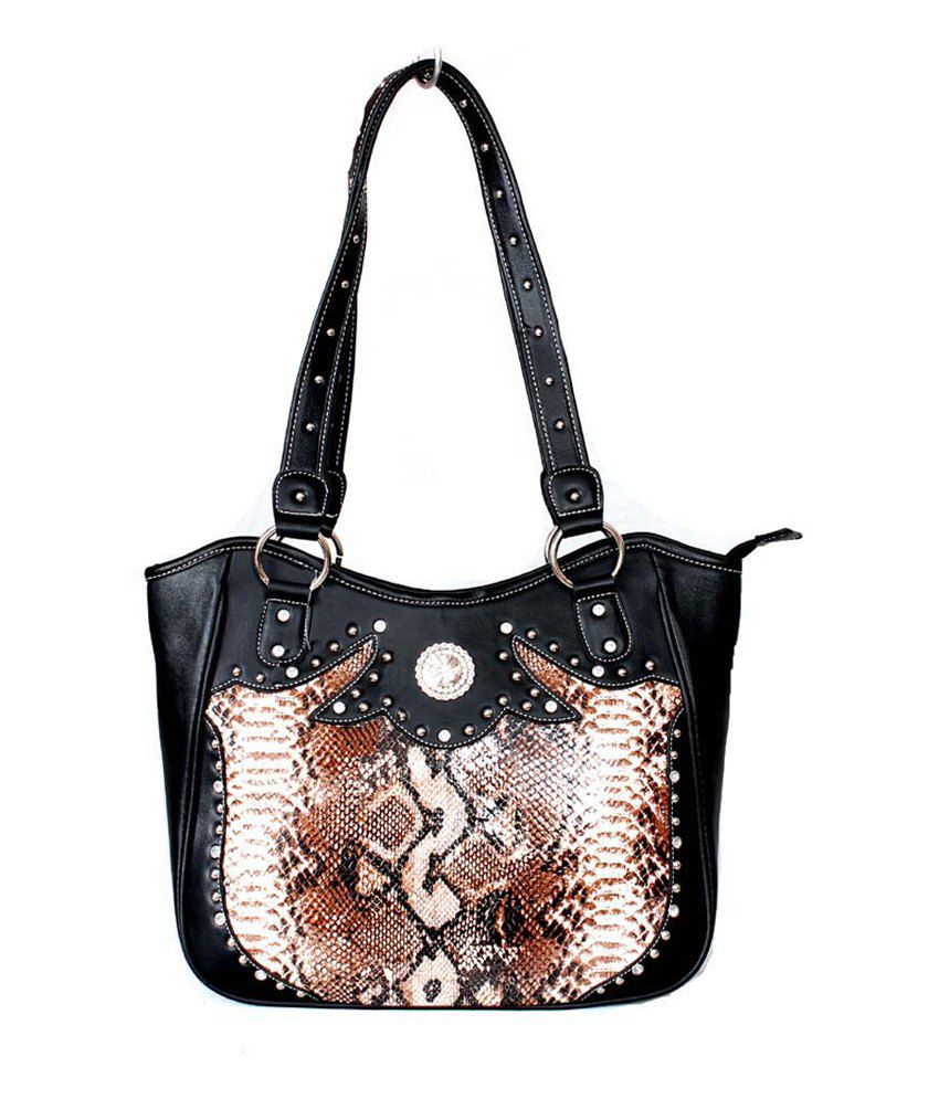 Saiva Brown And White Snake Pattern Western Style Tote Handbag