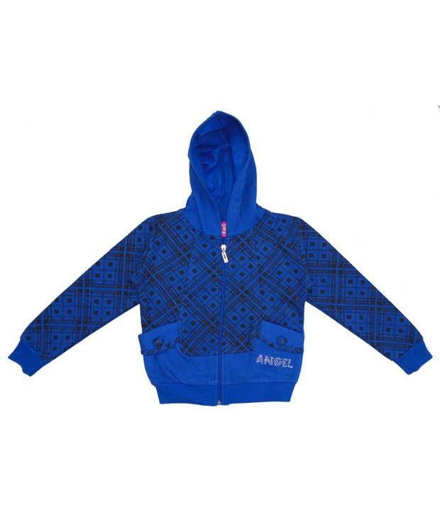 Sweet Angel Appealing Blue Hooded Sweatshirt For Girls