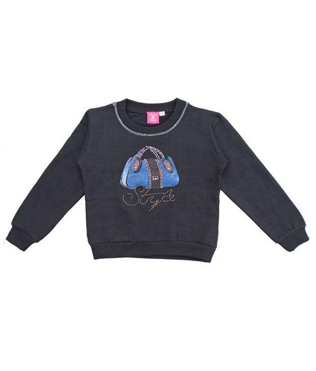 Sweet Angel Captivating Black Sweatshirt For Girls