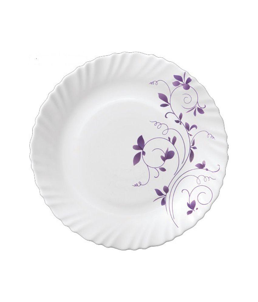 La Opala White And Purple Opal Vegetable Bowl: 220 Ml, Serving Bowl: 1500 Ml