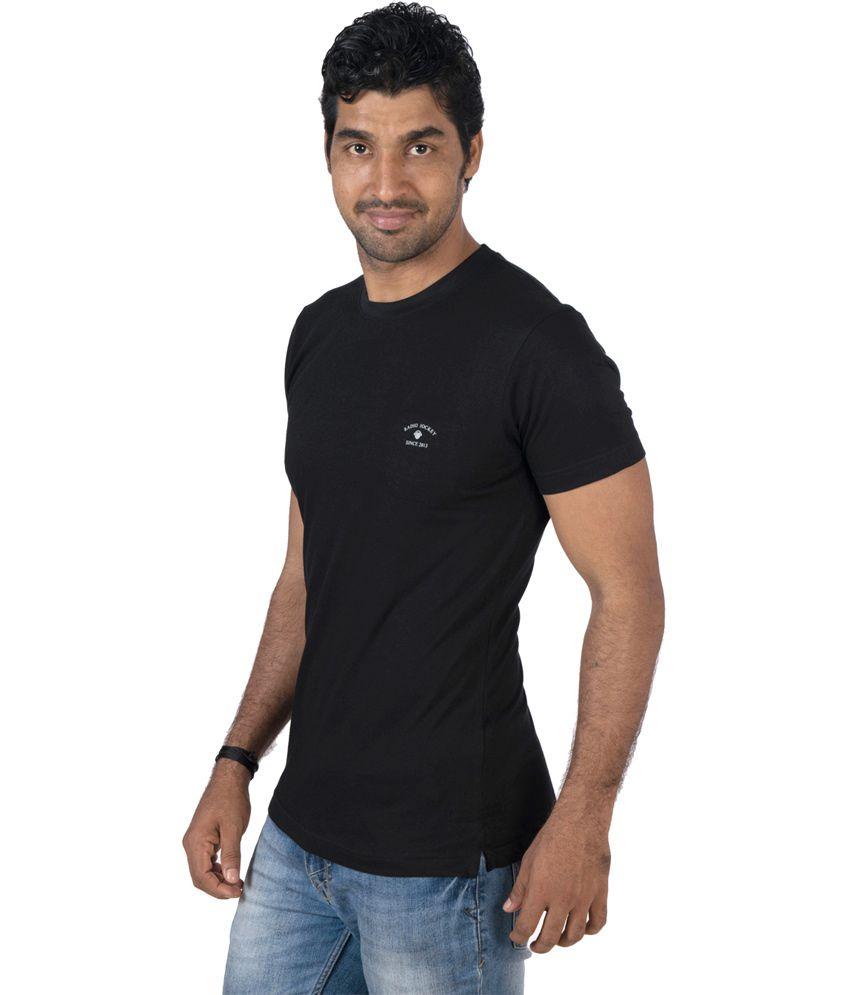 Radio Jockey Black Cotton Half Sleeves Tshirt