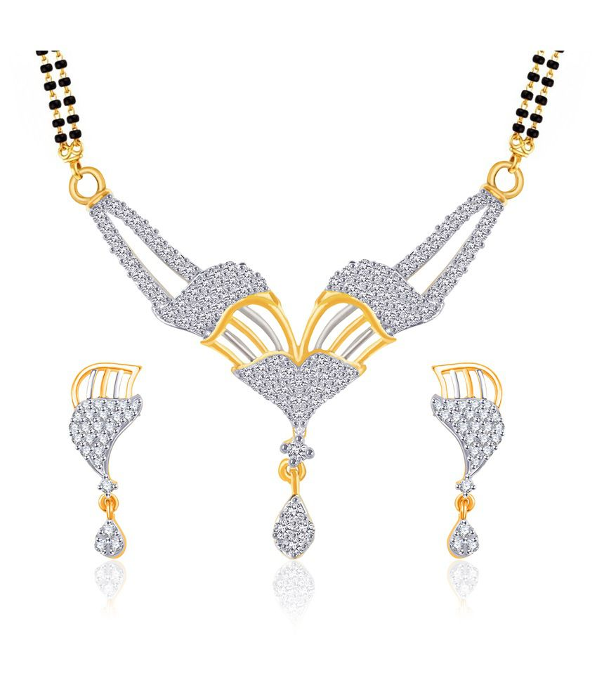 Vk Jewels Atractive Design Gold And Rhodium Plated Mangalsutra Pendant Set With Earrings