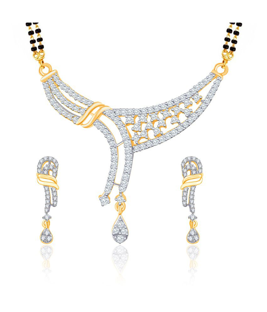 Vk Jewels Bold And Beautiful Gold And Rhodium Plated Mangalsutra Pendant Set With Earrings