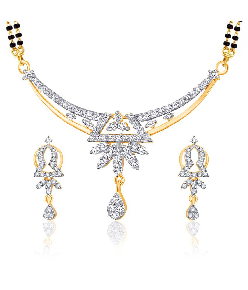 Vk Jewels Kalyani Gold And Rhodium Plated Mangalsutra Pendant Set With Earrings
