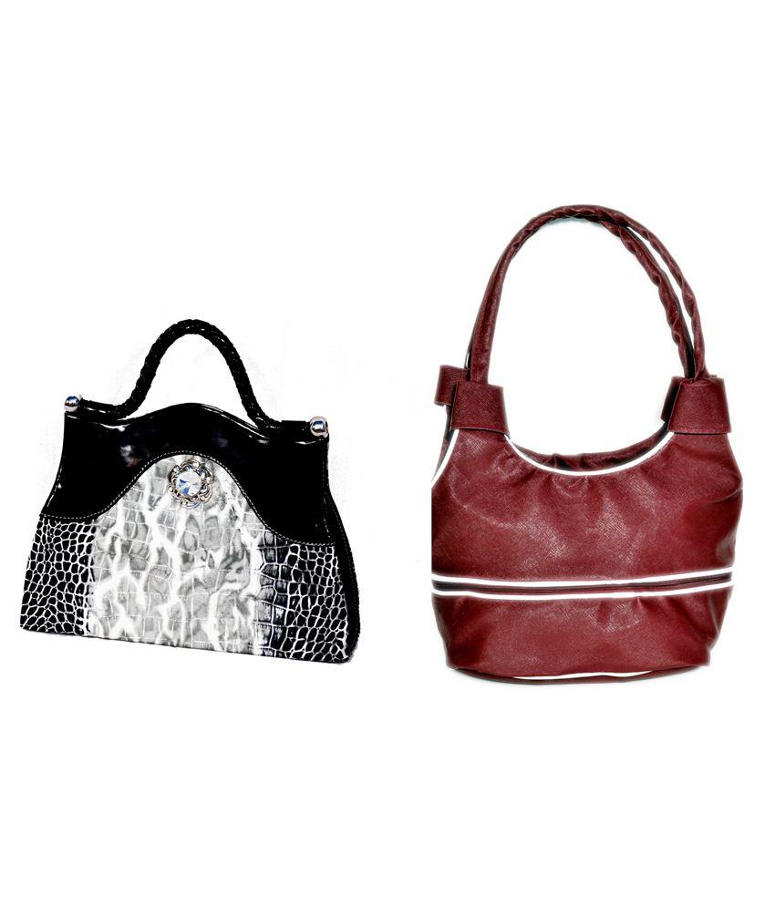 D Jindals Combo Of Maroon Handbag With Black Clutch