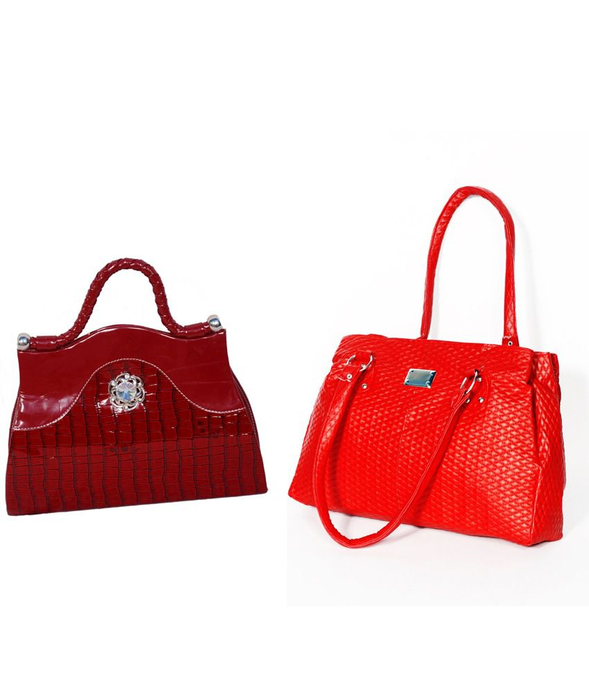 D Jindals Combo Of Red Handbag With Red Clutch