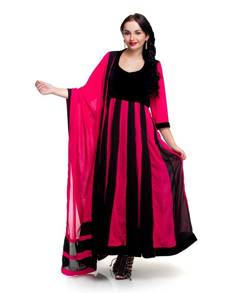 Ethnic Route Panelled Pink & Black Georgette Suit Set